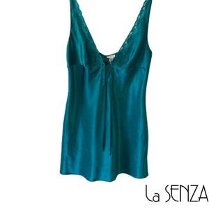 La Senza Lingerie Teal Blue Satin Like Slip